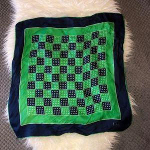 ECHO Vintage Silk Navy Green Dots Squares Scarf